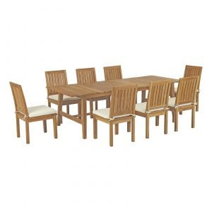 9 Piece Outdoor Patio Teak Outdoor Dining Set EEI-3311