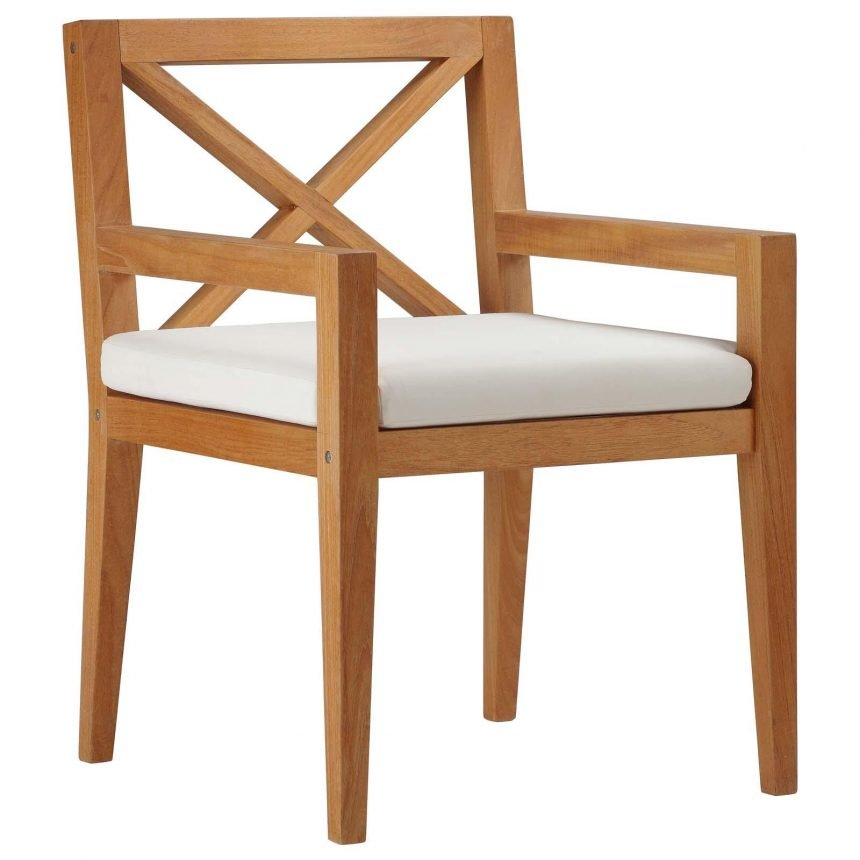 Outdoor Patio Premium Grade A Teak Wood Dining Armchair in Natural White EEI-3426