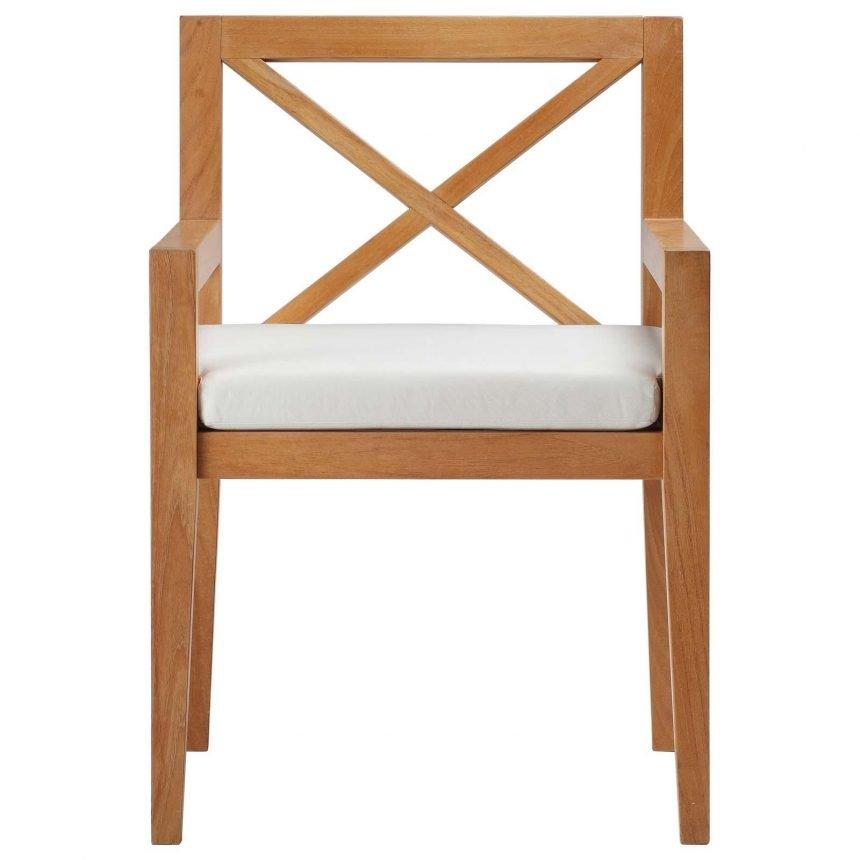 Outdoor Patio Premium Grade A Teak Wood Dining Armchair Front EEI-3426
