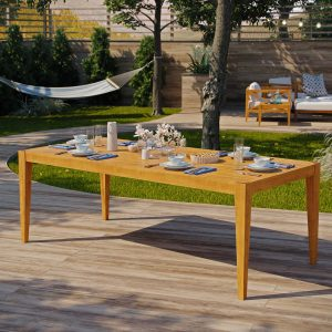 "85"" Outdoor Patio Premium Grade A Teak Wood Dining Table in Natural EEI-3430"