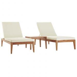 3 Piece Outdoor Patio Premium Grade A Teak Wood Set in Natural White EEI-3626