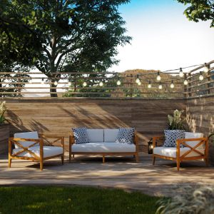 3 Piece Outdoor Patio Premium Grade A Teak Wood Set EEI-3630
