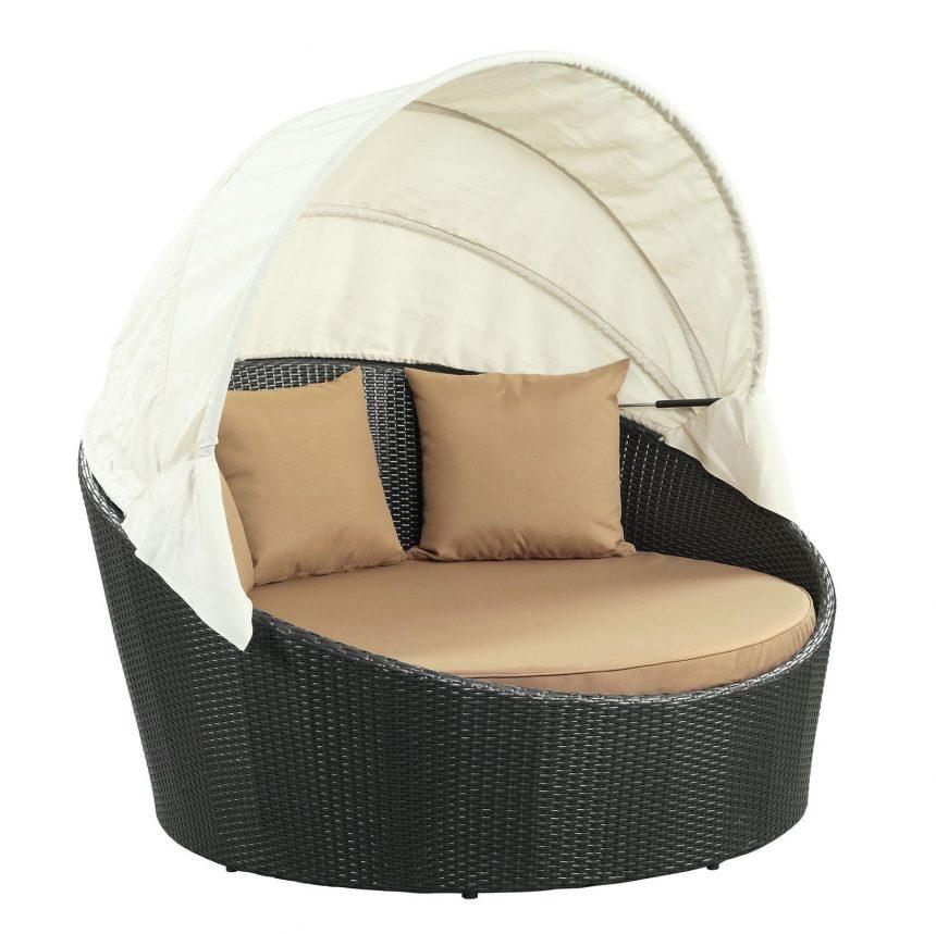 Canopy Outdoor Patio Daybed in Espresso Mocha-1- EEI-642