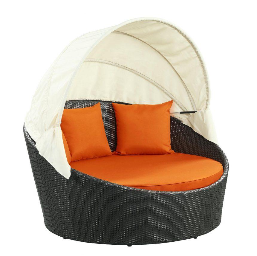 Canopy Outdoor Patio Daybed in Espresso Orange EEI-642