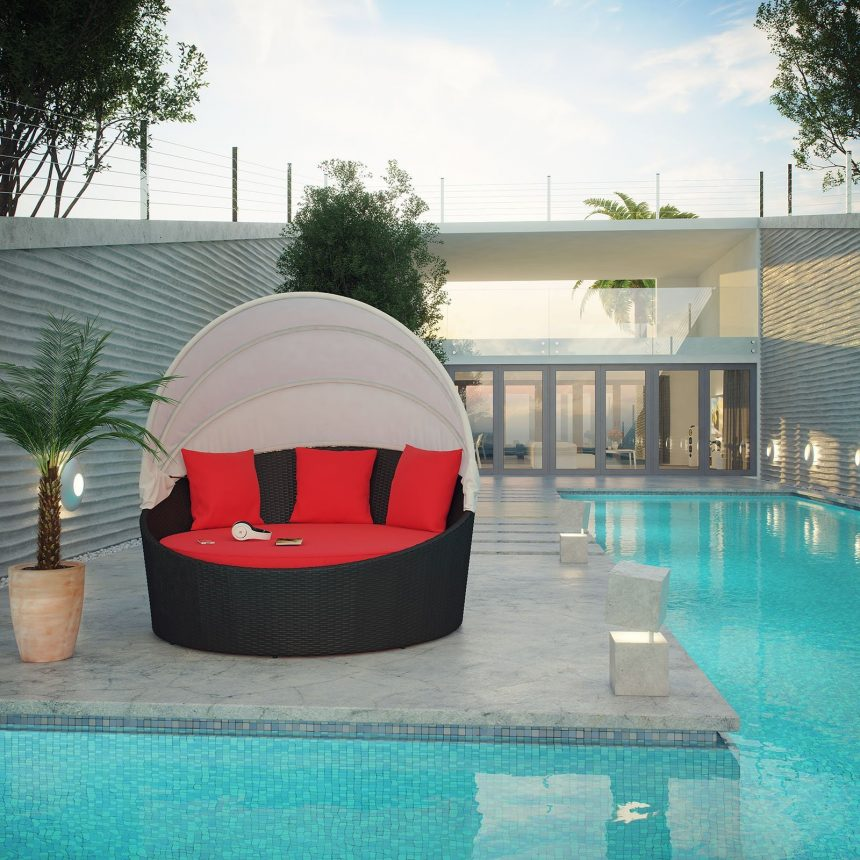 Canopy Outdoor Patio Daybed in Espresso Red Cushions EEI-642