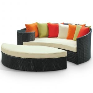 Outdoor Patio Wicker Daybed in Espresso Multicolor EEI-645