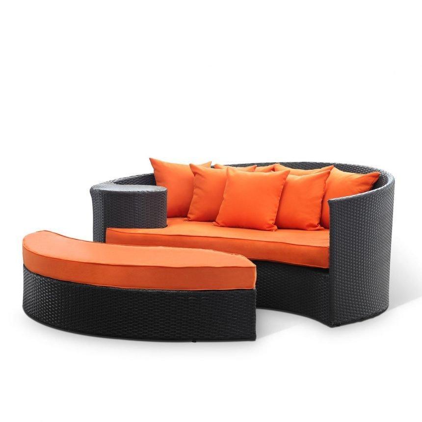 Outdoor Patio Wicker Daybed in Espresso Orange EEI-645