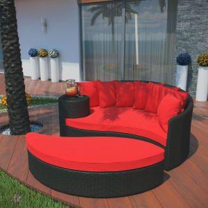 Outdoor Patio Wicker Daybed in Espresso Red EEI-645