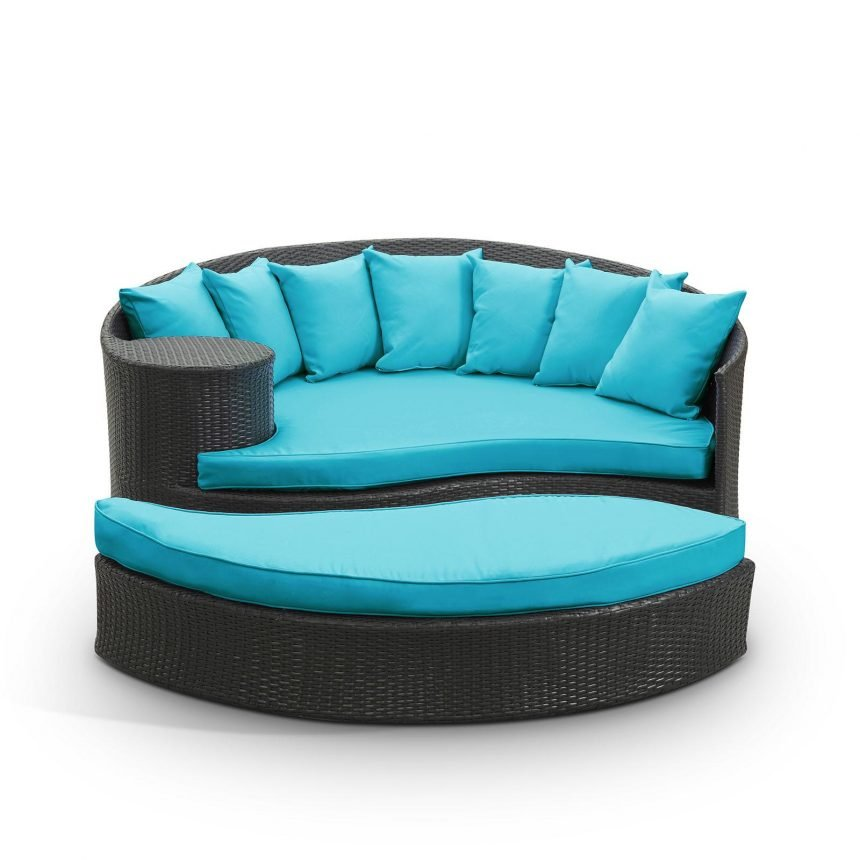 Outdoor Patio Wicker Daybed in Espresso Turquoise EEI-645