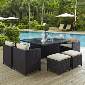9 Piece Outdoor Patio Dining Set in Espresso Beige EEI-726