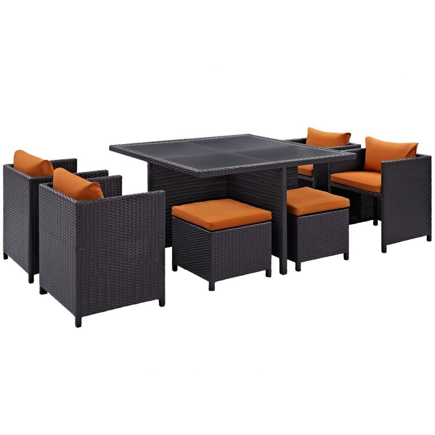 9 Piece Outdoor Patio Dining Set in Espresso Orange EEI-726