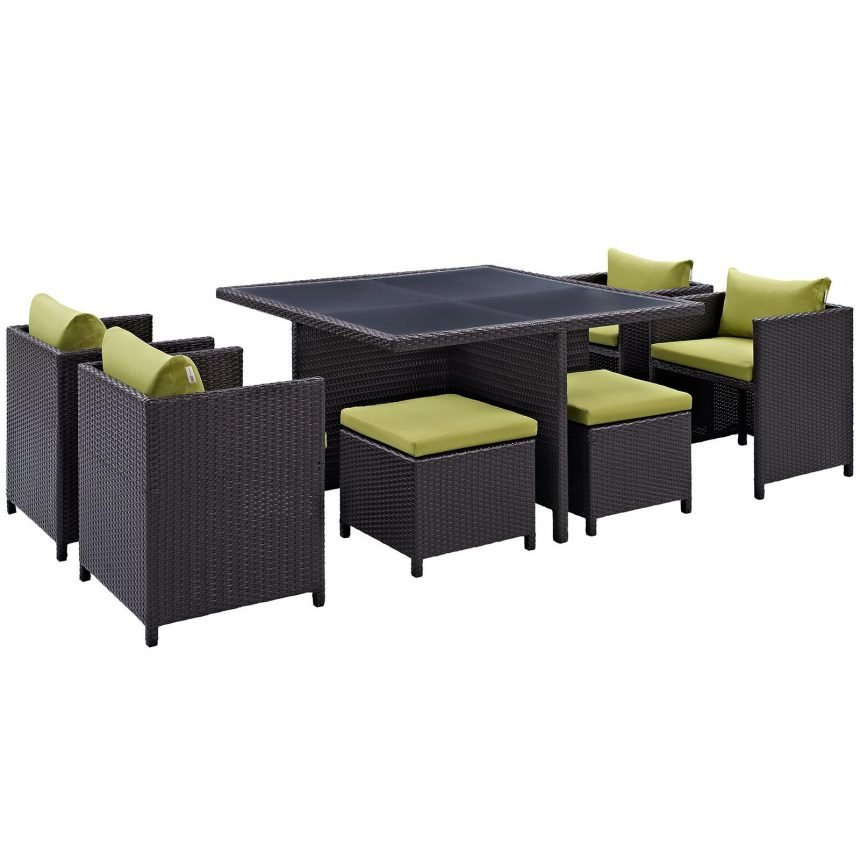 9 Piece Outdoor Patio Dining Set in Espresso Peridot EEI-726