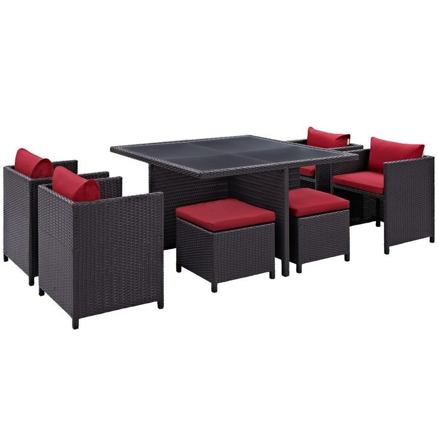 9 Piece Outdoor Patio Dining Set in Espresso Red EEI-726