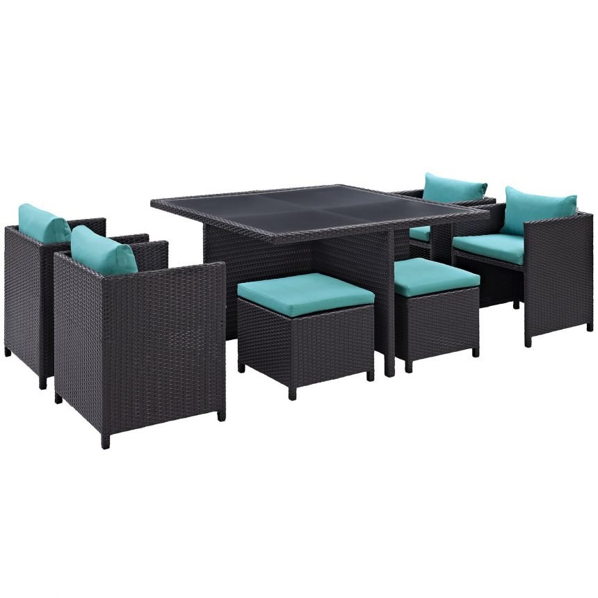 9 Piece Outdoor Patio Dining Set in Espresso Turquoise EEI-726