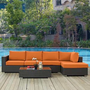 5 Piece Outdoor Patio Sunbrella® Sectional Set in Canvas Tuscan