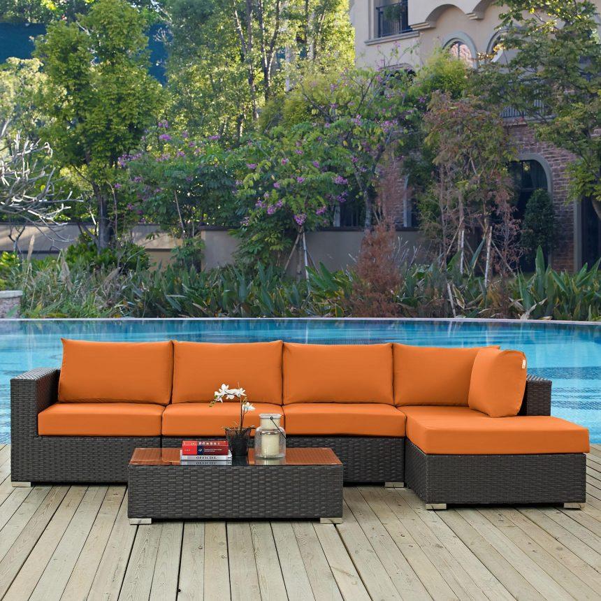 5 Piece Outdoor Patio Sunbrella® Sectional Set in Canvas Tuscan