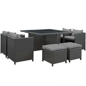 9 Piece Outdoor Patio Sunbrella® Dining Set in Canvas Gray