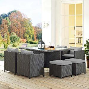 9 Piece Outdoor Patio Sunbrella® Dining Set in Canvas Gray EEI-1946