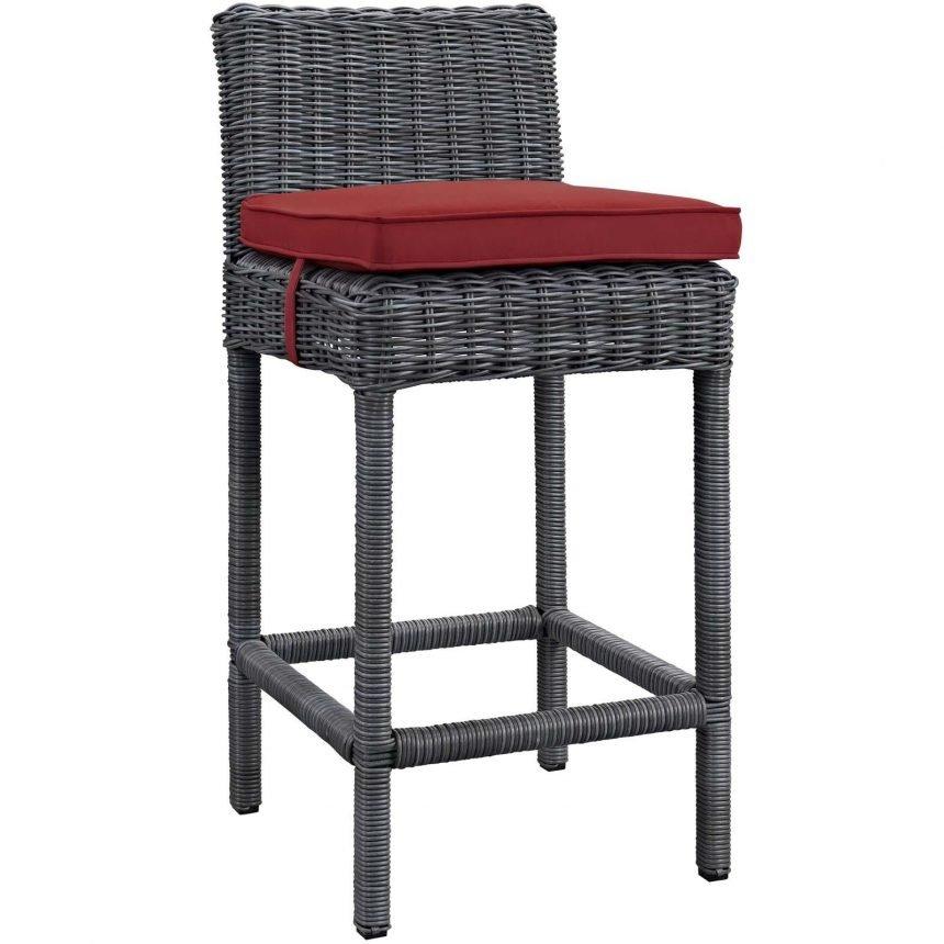 Outdoor Patio Sunbrella® Bar Stool in Gray Red EEI-1960