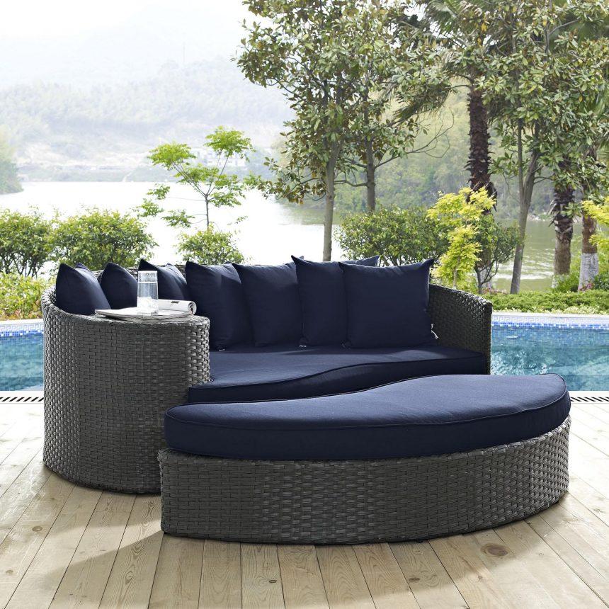Outdoor Patio Sunbrella® Daybed in Canvas Navy Cushions EEI-1982