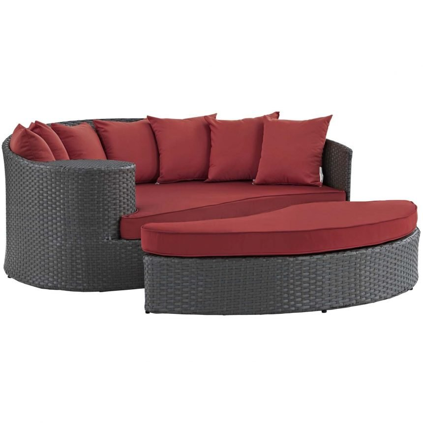 Outdoor Patio Sunbrella® Daybed in Canvas Red EEI-1982