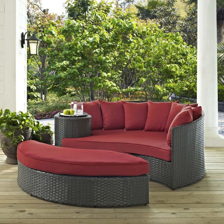 Outdoor Patio Sunbrella® Daybed in Canvas Red Cushions EEI-1982