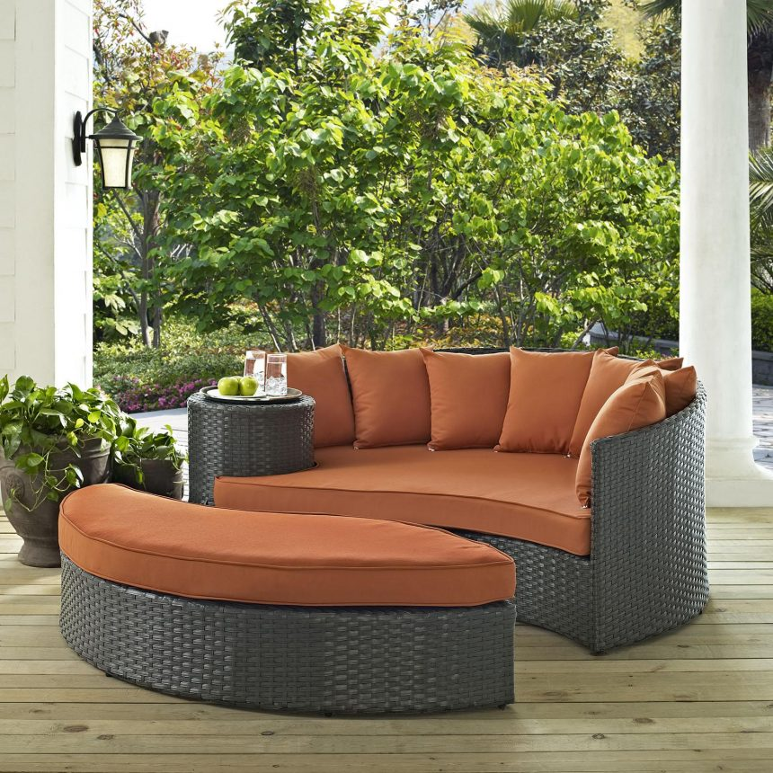 Outdoor Patio Sunbrella® Daybed in Canvas Tuscan Cushions EEI-1982