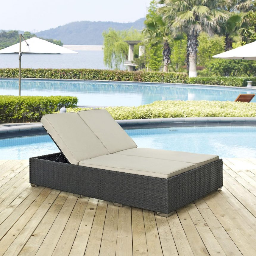 Outdoor Patio Sunbrella® Double Chaise in Chocolate Beige EEI-1983