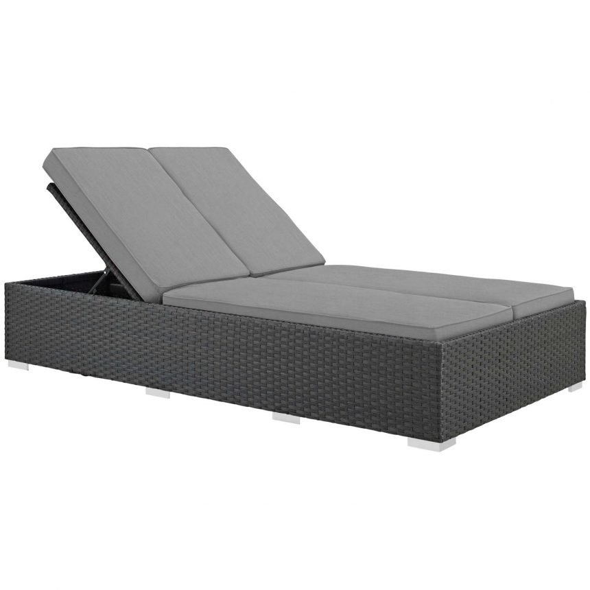 Outdoor Patio Sunbrella® Double Chaise in Chocolate Gray