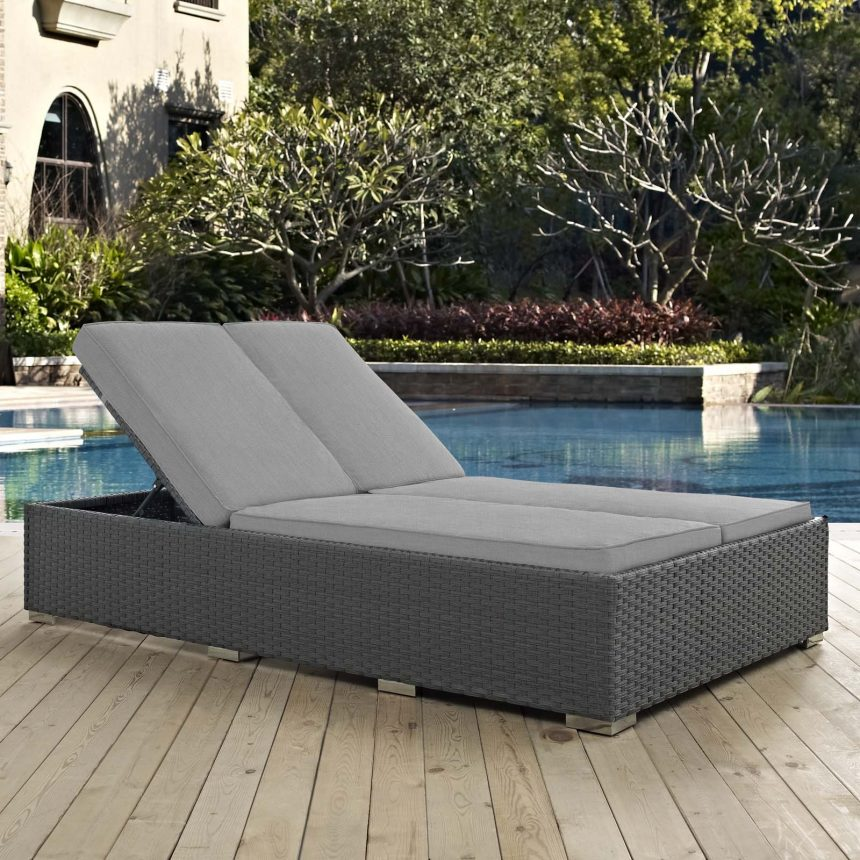 Outdoor Patio Sunbrella® Double Chaise in Chocolate Gray EEI-1983