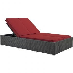 Outdoor Patio Sunbrella® Double Chaise in Chocolate Red