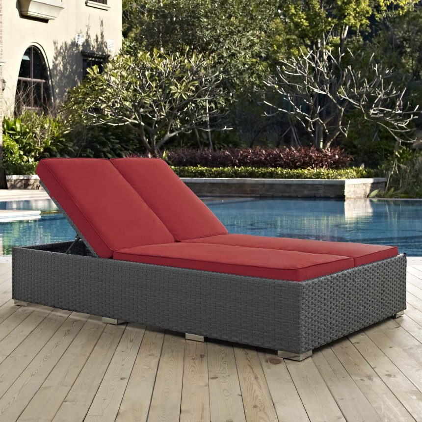 Outdoor Patio Sunbrella® Double Chaise in Chocolate Red EEI-1983