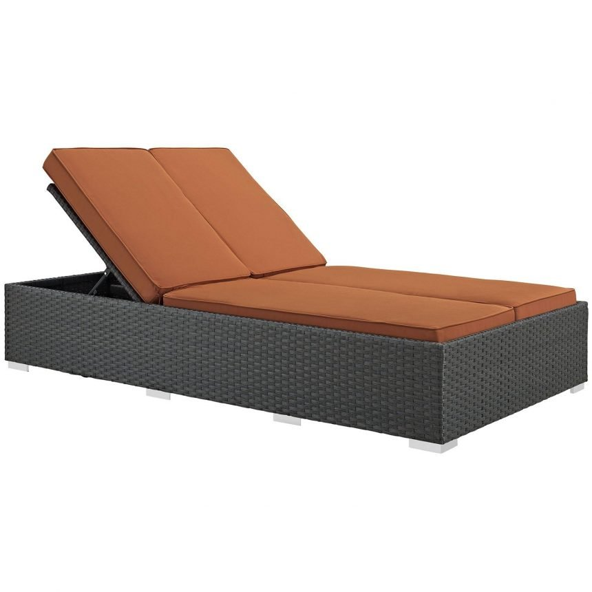 Outdoor Patio Sunbrella® Double Chaise in Chocolate Tuscan