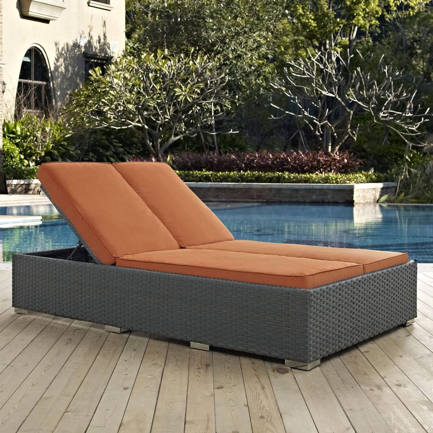 Outdoor Patio Sunbrella® Double Chaise in Chocolate Tuscan EEI-1983