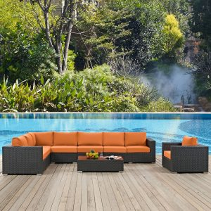 7 Piece Outdoor Patio Sunbrella® Sectional Set in Chocolate Tuscan cushions EEI-2013