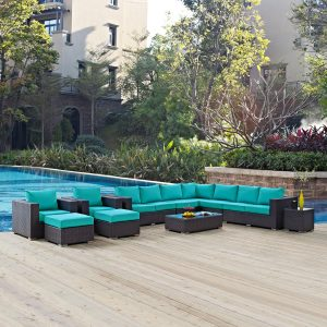 11 Piece Outdoor Patio Sectional Set in Espresso Turquoise cushions EEI-2166