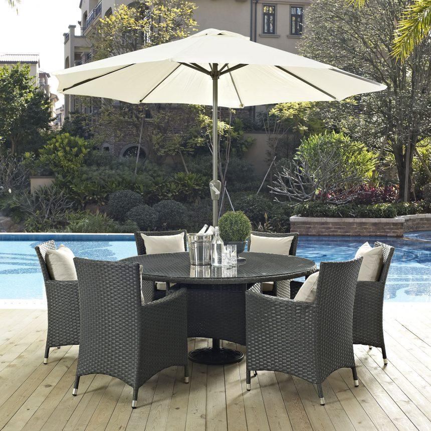 8 Piece Outdoor Patio Sunbrella® Dining Set in Antique Canvas Beige