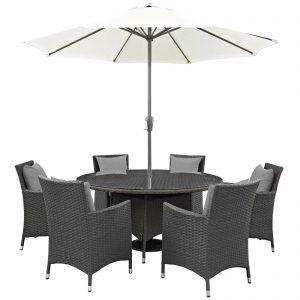 8 Piece Outdoor Patio Sunbrella® Dining Set in Canvas Gray