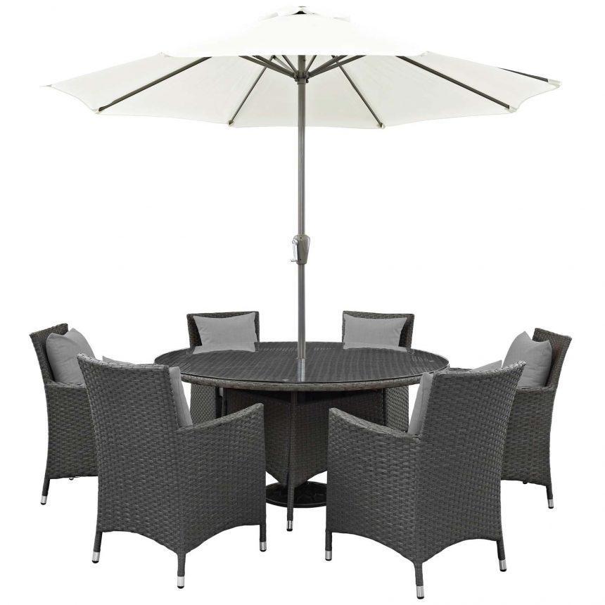 8 Piece Outdoor Patio Sunbrella® Dining Set in Canvas Gray