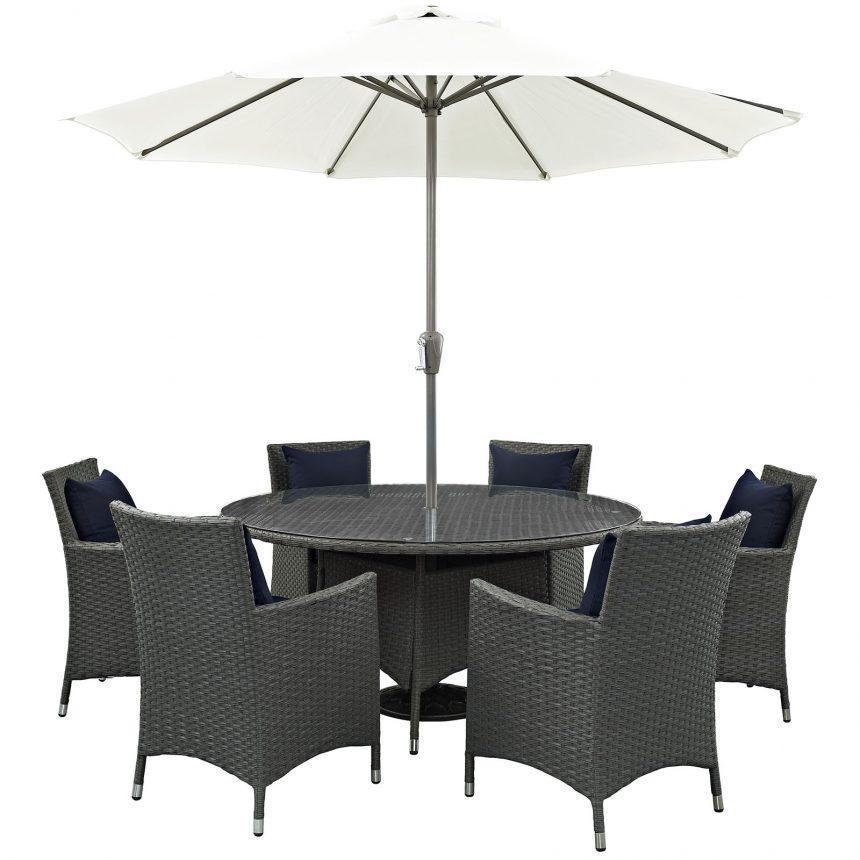 8 Piece Patio Sunbrella® Dining Set-EEI-2270-CHC-NAV-SET