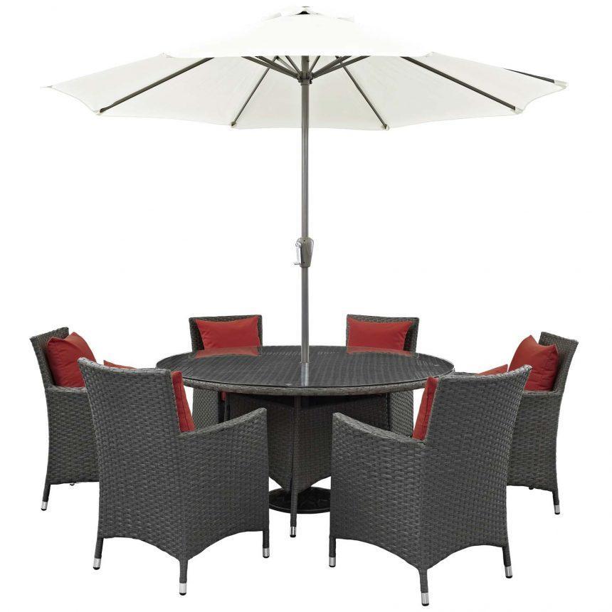 8 Piece Patio Sunbrella® Dining Set-EEI-2270-Red