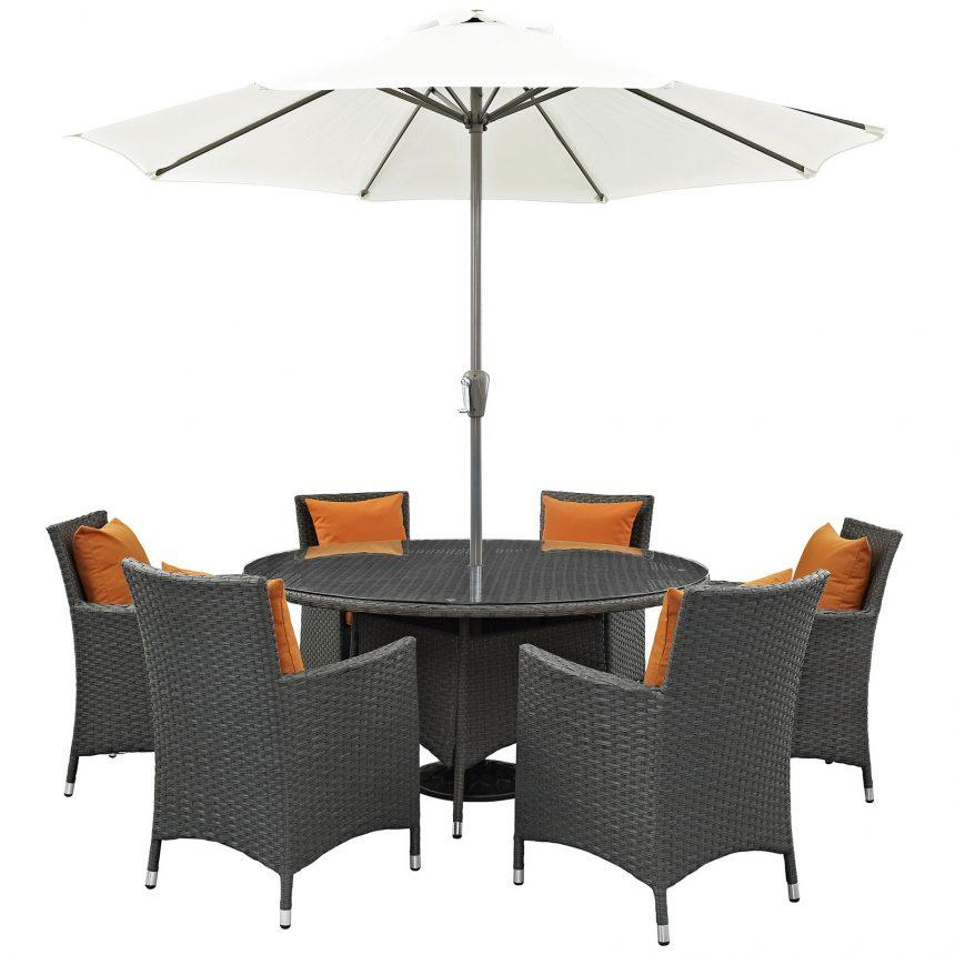 8 Piece Outdoor Patio Sunbrella® Dining Set in Canvas Tuscan