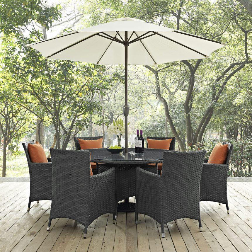 8 Piece Outdoor Patio Sunbrella® Dining Set in Canvas Tuscan EEI-2270