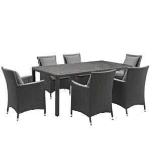 7 Piece Outdoor Patio Sunbrella® Dining Set in Canvas Gray EEI-2271