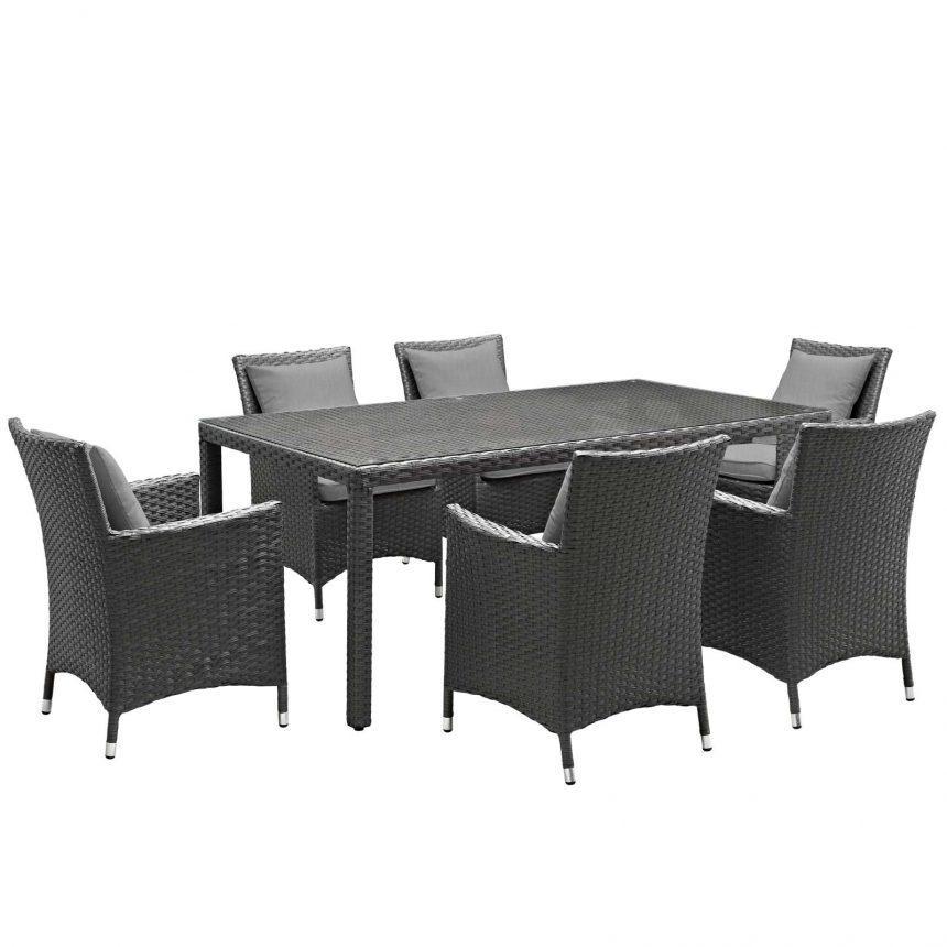 7 Piece Outdoor Patio Sunbrella® Dining Set in Canvas Gray EEI-2271