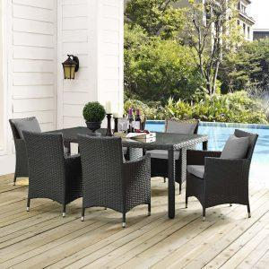 7 Piece Outdoor Patio Sunbrella® Dining Set in Canvas Gray