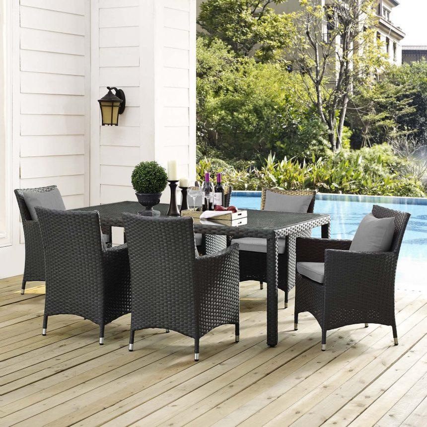 7 Piece Outdoor Patio Sunbrella® Dining Set in Canvas Gray