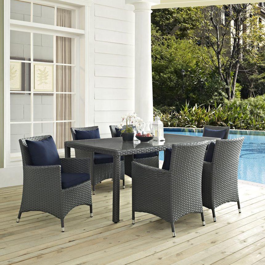7 Piece Outdoor Patio Sunbrella® Dining Set in Canvas Navy