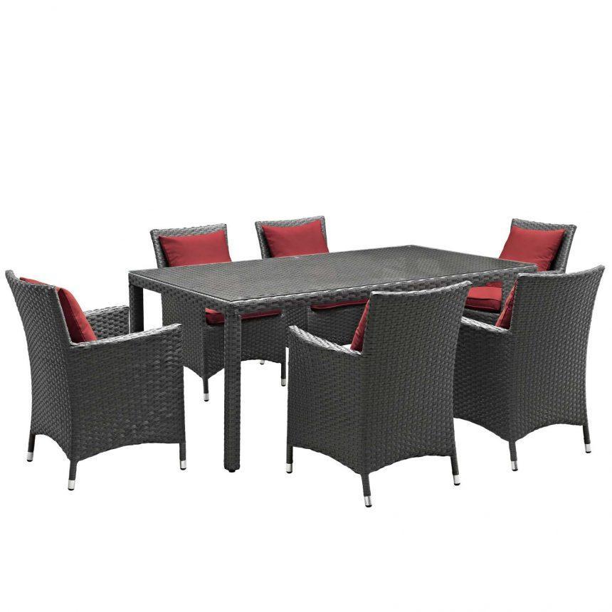 7 Piece Outdoor Patio Sunbrella® Dining Set in Canvas Red