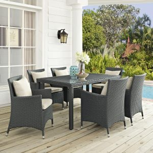 7 Piece Outdoor Patio Sunbrella® Dining Set in Antique Canvas Beige cushions EEI-2312